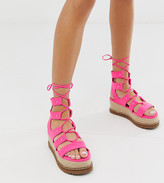 Asos Design DESIGN Jive flatform espadrilles in neon pink