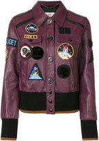 Coach patch-embellished varsity jacket - women - Lamb Skin/Polyamide/Spandex/Elastane/Wool - 4