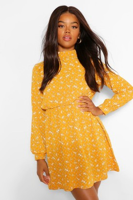 boohoo Floral High Neck Skater Dress