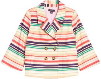 Halogen x Atlantic-Pacific Stripe Short Trench Jacket