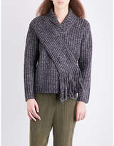 Craig Green Scarf-panel ribbed fisherman-knit jumper