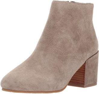 Gentle Souls by Kenneth Cole Women's Blaise Ankle Bootie with Side Zip Covered Block Heel Suede