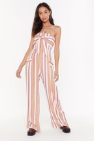 Nasty Gal Womens Stripe Bandeau Wide Leg Jumpsuit - Yellow - 6, Yellow