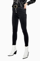 Topshop Washed Black Button Fly Jamie Jeans