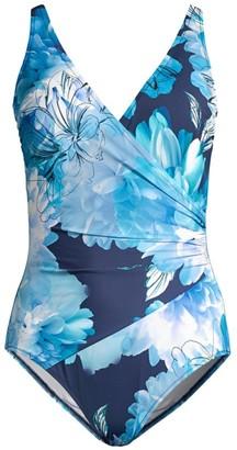 Gottex Swim Floral Print Faux-Wrap One-Piece
