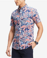 Tommy Hilfiger Men's Tropical Print Short Sleeve Classic Fit Shirt, Created for Macy's