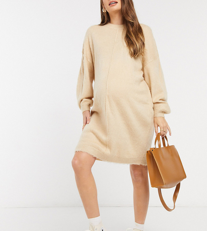 ASOS DESIGN Maternity knitted dress with brushed yarn in oatmeal