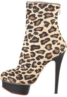 Charlotte Olympia Lucinda Leopard-Print Calf Hair Platform Ankle Boot
