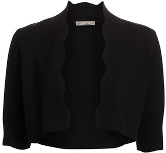 Lela Rose Scallop-Trim Knit Bolero