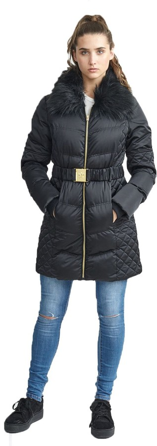 Thumbnail for your product : Brave Soul Womens Bistrolong Quilted Coat Bistrolong Coat - UK 12 Black