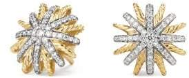 David Yurman Starburst Earrings With Diamonds In 18K Gold, 14Mm
