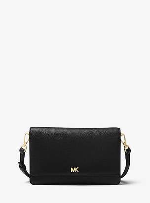 MICHAEL Michael Kors MK Pebbled Leather Convertible Crossbody Bag - Black - Michael Kors