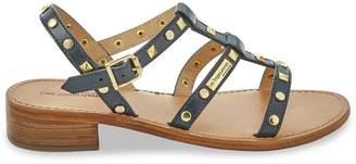 Les Tropéziennes Bam Leather Studded Sandals with Block Heel
