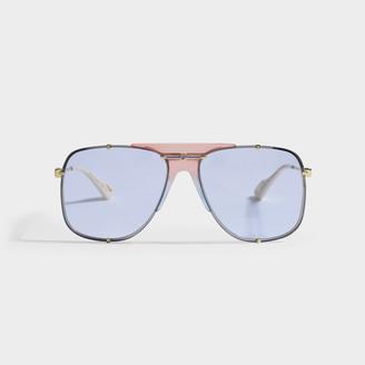 Gucci Gold Aviator Sunglasses In Metal