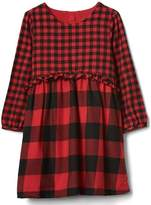 Gap Buffalo plaid ruffle dress