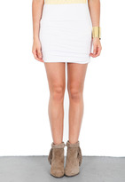 Singer22 Shirred Mini Skirt in White - by Bella Luxx