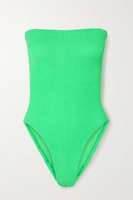 Hunza G + Net Sustain Audrey Seersucker Bandeau Swimsuit - Bright green