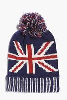 Boohoo Union Jack Knitted Pom Pom Beanie