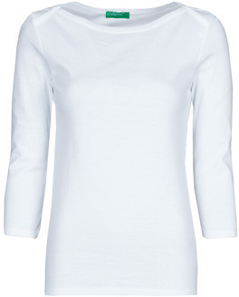 Benetton 3GA2E16A1 women's Long Sleeve T-shirt in White