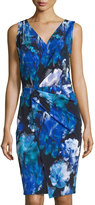 T Tahari Nessa Sleeveless Printed Dress W/Twist, Cobalt