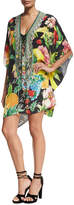 Camilla Short Lace-Up Embellished Silk Kaftan Swim Coverup