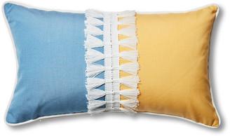 Celerie Kemble For One Kings Lane Kit 13x22 Outdoor Lumbar Pillow - Blue/Yellow