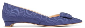 Rupert Sanderson Aga Point-toe Moire Flats - Womens - Navy