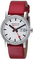 Mondaine evo2 30mm sapphire Big Date Watch with St. Steel polished Case white Dial and red leather Strap MSE.30210.LC