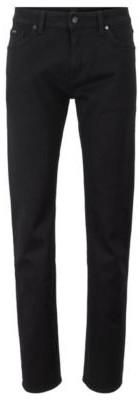 HUGO BOSS Regular Fit Jeans In Deep Black Italian Stretch Denim - Black