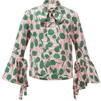 La DoubleJ Happy Wrist Floral-print Silk Blouse - Womens - Pink Multi