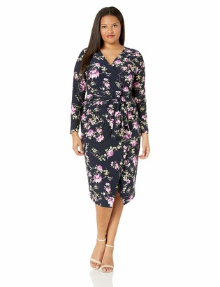 Rachel Roy Women's Plus Size Long Sleeve Floral Printed Jersey Dress