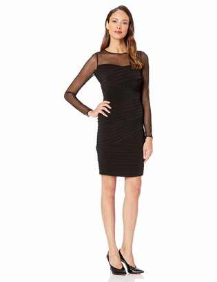 Calvin Klein Women's Long Sleeve Bandage Dress with Illusion Neckline