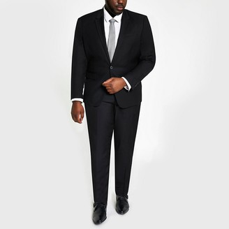 River Island Big and Tall black skinny fit suit jacket