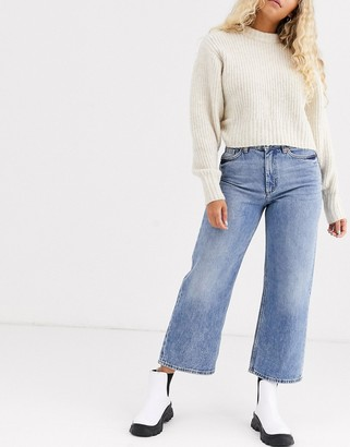 Monki Mozik wide leg organic cotton jeans in vintage blue