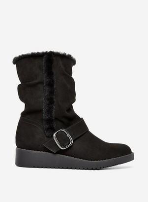Dorothy Perkins Womens Wide Fit Black 'Tessa' Back Mid Calf Wedge Boots, Black
