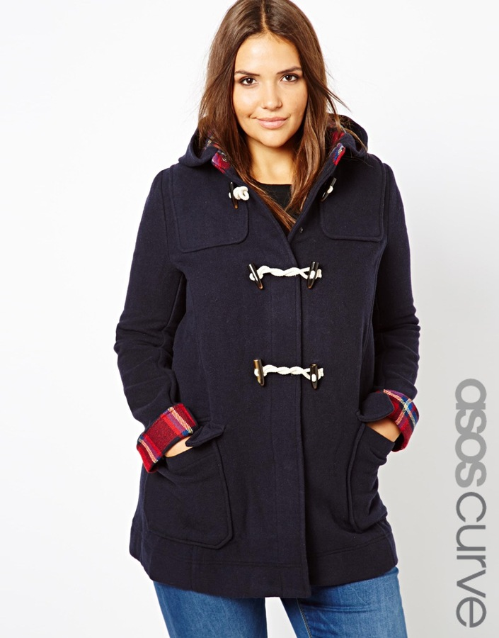 Asos Duffle Coat With Check