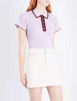 ALEXACHUNG Frilled knitted polo top