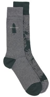 HUGO BOSS Two Pack Of Regular Length Socks With Pine Tree Motifs - Dark Green