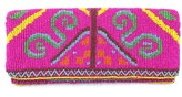The Well Appointed House Bright Pink Beaded Clutch Purse with Tribal Design