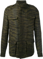 Etro zebra print cargo pocket jacket - men - Linen/Flax/Polyester/Acetate/Cupro - L