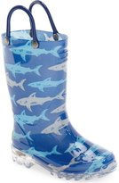 Western Chief 'Deep Sea Sharks' Light-Up Rain Boot (Toddler & Little Kid)