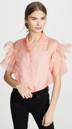 ANAÏS JOURDEN Organza Shirt with Ruffled Short Sleeves