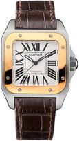 Cartier Santos 100 18ct Pink-gold And Leather Watch