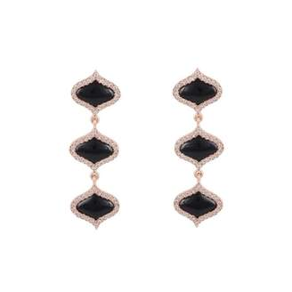 Gyan Jewels Lattice Earrings In Onyx