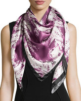 Anna Coroneo Ferns Square Silk Scarf, Ruby