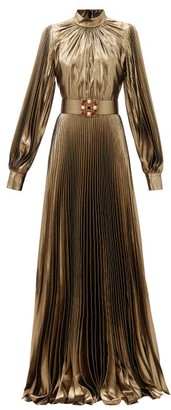 Andrew Gn Crystal-belt Pleated Silk-blend Plisse Gown - Gold