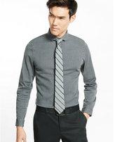 Express slim fit stretch gray wash denim dress shirt