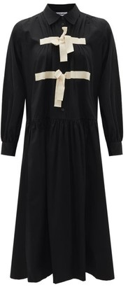 Molly Goddard Amber Tie-front Cotton Midi Shirt Dress - Black