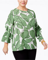 Alfani Plus Size Ruffle-Sleeve Top, Only at Macy's