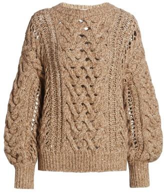 Brunello Cucinelli Open Weave Cashmere & Wool-Blend Knit Sweater